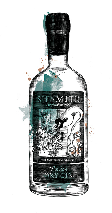Sipsmith Gin Bottle Illustration