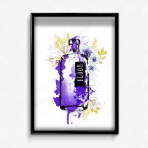 Purple gin bottle watercolour flowers art print